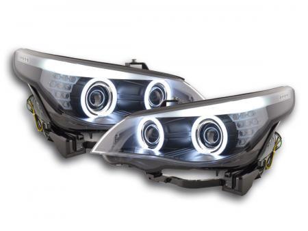 Scheinwerfer Set Xenon Angel Eyes CCFL BMW 5er E60/E61 Bj. 03-04 schwarz