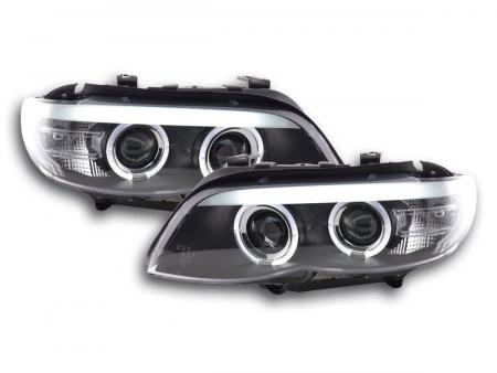 Scheinwerfer Set Xenon Daylight LED TFL-Optik BMW X5 E53 Bj. 03-06 schwarz