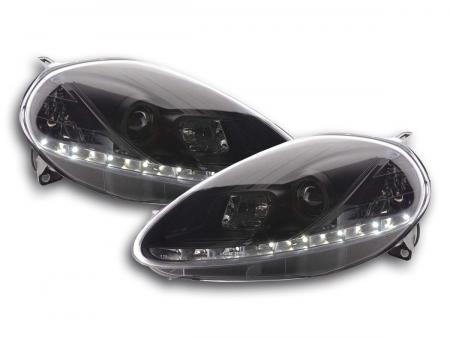 Scheinwerfer Set Daylight LED TFL-Optik Fiat Grande Punto Typ 199 Bj. 08- schwarz