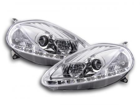 Scheinwerfer Set Daylight LED TFL-Optik Fiat Grande Punto Typ 199 Bj. 05-08 chrom
