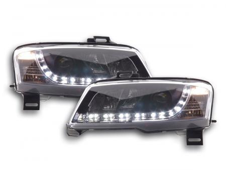 Scheinwerfer Set Daylight LED TFL-Optik Fiat Stilo 3-trg. Typ 192 Bj. 01-07 schwarz