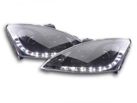 Scheinwerfer Set Daylight LED TFL-Optik Ford Focus 3/4/5-trg. Bj. 01-04 schwarz