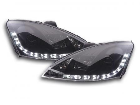 Scheinwerfer Set Daylight LED Tagfahrlicht Ford Focus 1 C170 schwarz