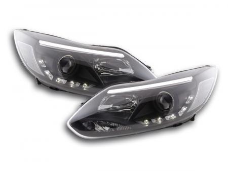Scheinwerfer Set Daylight LED TFL-Optik Ford Focus 3 Bj. 2010- schwarz