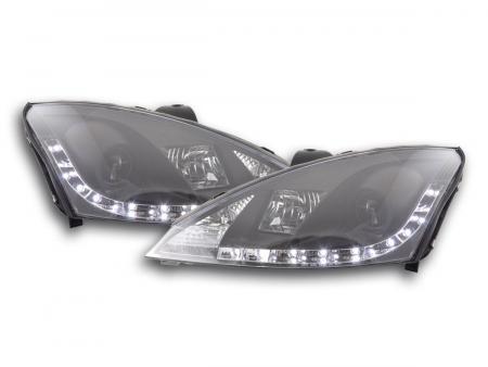 Scheinwerfer Set Daylight LED TFL-Optik Ford Focus 3/4/5-trg. Bj. 01-04 schwarz für Rechtslenker