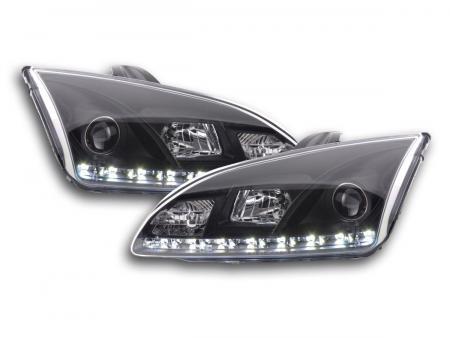 Scheinwerfer Set Daylight LED TFL-Optik Ford Focus 4/5-trg. Bj. 05-08 schwarz für Rechtslenker
