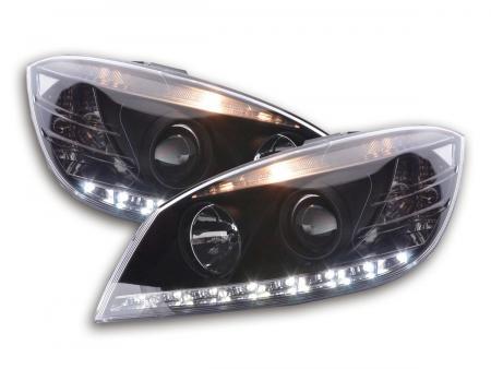 Scheinwerfer Set Daylight LED TFL-Optik Mercedes C-Klasse Typ W204 Bj. 07-10 schwarz