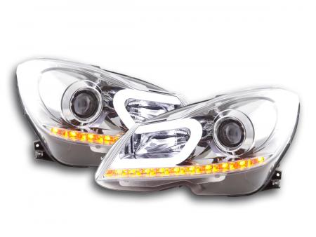 Scheinwerfer Set Daylight LED TFL-Optik Mercedes C-Klasse W204 Bj. 11-14 chrom