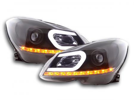 Scheinwerfer Set Daylight LED TFL-Optik Mercedes C-Klasse W204 Bj. 11-14 schwarz