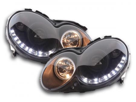 Scheinwerfer Set Daylight LED TFL-Optik Mercedes CLK Typ W209 Bj. 04-09 schwarz