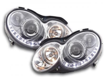 Scheinwerfer Set Daylight LED TFL-Optik Mercedes CLK W209 Bj. 04-09 chrom