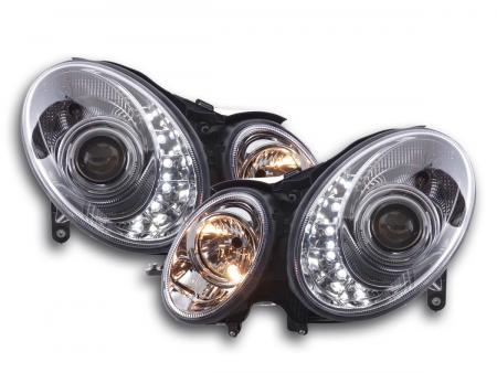 Scheinwerfer Set Daylight LED TFL-Optik Mercedes E-Klasse 211 Bj. 02-06 chrom