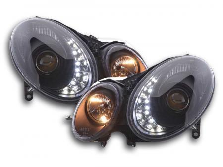 Scheinwerfer Set Daylight LED TFL-Optik Mercedes E-Klasse 211 Bj. 02-06 schwarz