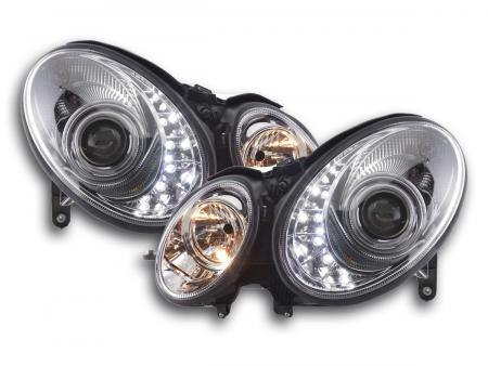 Scheinwerfer Set Daylight LED TFL-Optik Mercedes E-Klasse 211 Bj. 06-09 chrom
