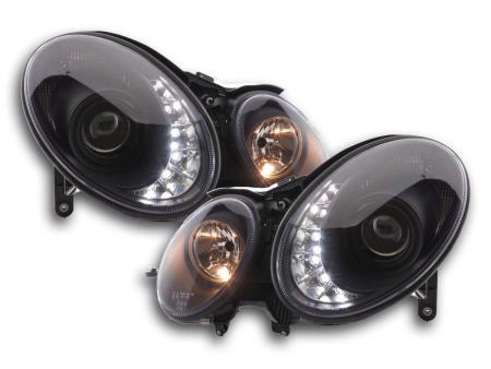 Scheinwerfer Set Daylight LED TFL-Optik Mercedes E-Klasse 211 Bj. 06-09 schwarz