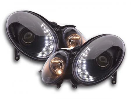 Scheinwerfer Set Daylight LED TFL-Optik Mercedes E-Klasse Typ W211 Bj. 02-06 schwarz
