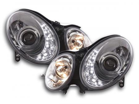 Scheinwerfer Set Daylight LED TFL-Optik Mercedes E-Klasse Typ W211 Bj. 06-08 chrom