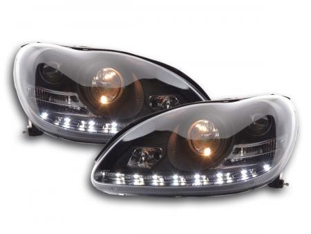 Scheinwerfer Set Daylight LED TFL-Optik Mercedes S-Klasse Typ W220 Bj. 98-05 schwarz