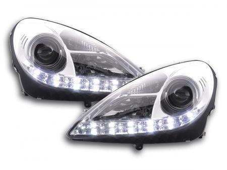 Scheinwerfer Set Daylight LED TFL-Optik Mercedes SLK 171 Bj. 04-11 chrom