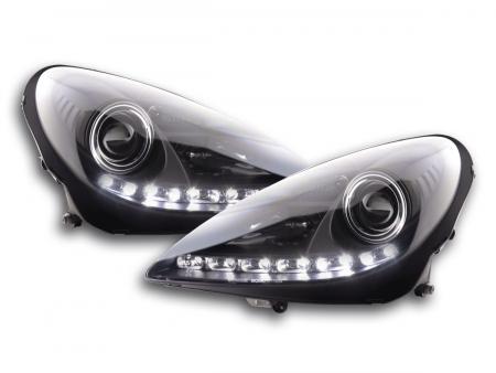 Scheinwerfer Set Daylight LED TFL-Optik Mercedes SLK R171 Bj. 04-11 schwarz
