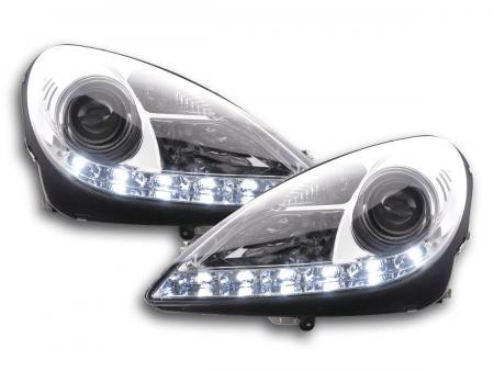 Scheinwerfer Set Daylight LED Tagfahrlicht Mercedes SLK R171 chrom