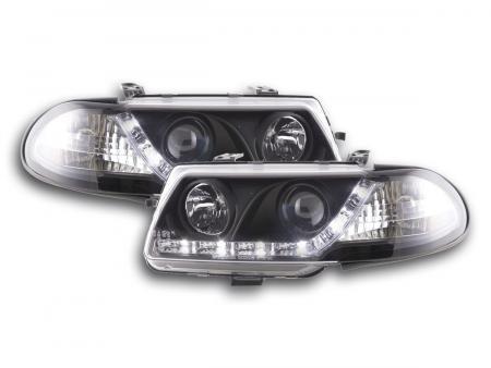 Scheinwerfer Set Daylight LED TFL-Optik Opel Astra F Bj. 95-97 schwarz