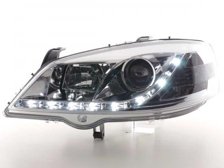 Scheinwerfer Set Daylight LED Tagfahrlicht Opel Astra G Bj. 98-03 chrom