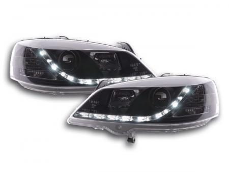 Scheinwerfer Set Daylight LED Tagfahrlicht Opel Astra G Bj. 98-03 schwarz