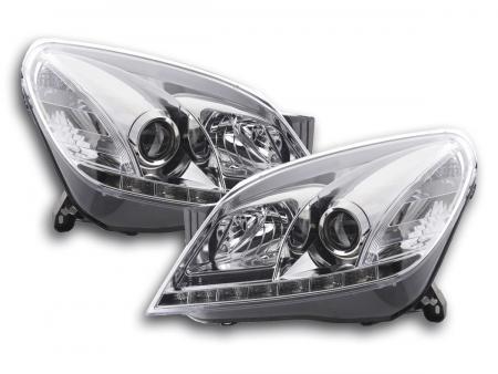 Scheinwerfer Set Daylight LED Tagfahrlicht Opel Astra H Bj. 2004-2009 chrom