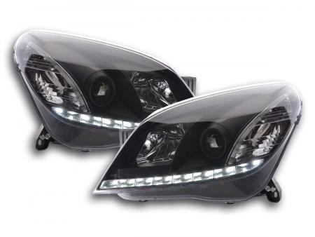Scheinwerfer Set Daylight LED Tagfahrlicht Opel Astra H Bj. 2004-2009 schwarz