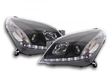 Scheinwerfer Set Daylight LED TFL-Optik Opel Astra H Bj. 04-10 schwarz für Rechtslenker