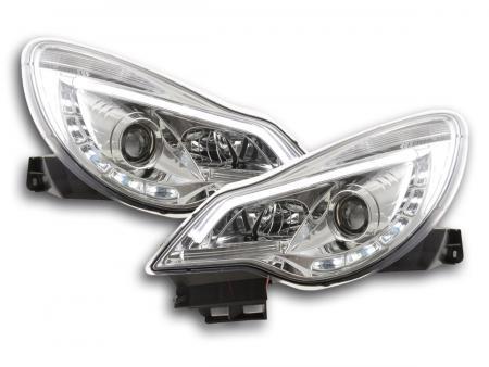 Scheinwerfer Set Daylight LED Tagfahrlicht Opel Corsa D Bj. ab 2011 chrom für Rechtslenker