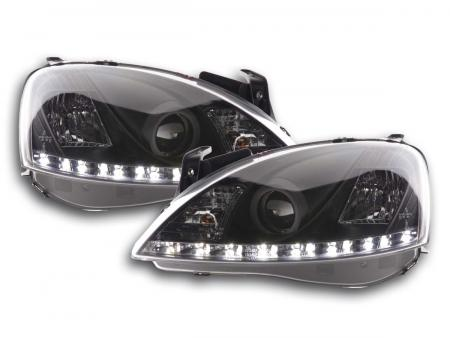 Scheinwerfer Set Daylight LED TFL-Optik Opel Corsa C Bj. 01-06 schwarz