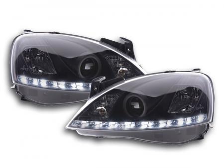 Scheinwerfer Set Daylight LED Tagfahrlicht Opel Corsa C Bj. 01-06 schwarz