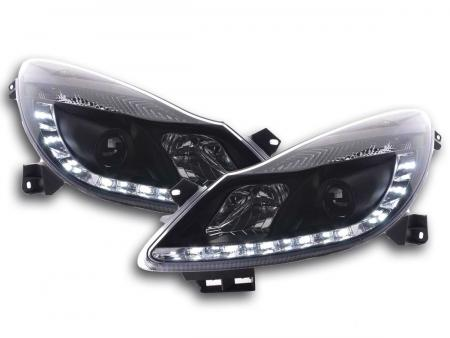 Scheinwerfer Set Daylight LED Tagfahrlicht Opel Corsa D Bj. 06- schwarz