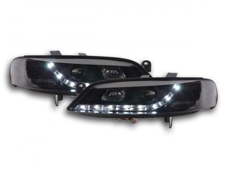 Scheinwerfer Set Daylight LED Tagfahrlicht Opel Vectra B Bj. 99-02 schwarz