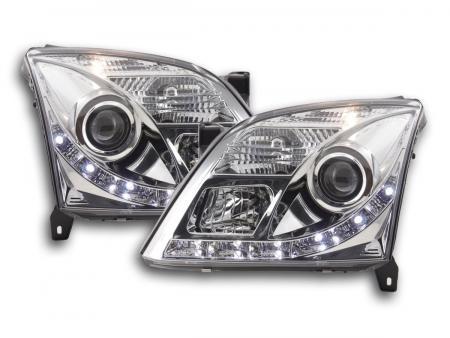 Scheinwerfer Set Daylight LED TFL-Optik Opel Vectra C Bj. 02-05 chrom für Rechtslenker