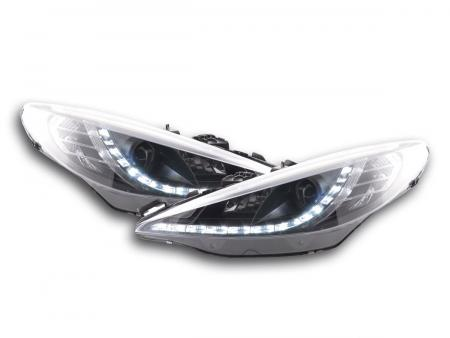 Scheinwerfer Set Daylight LED Tagfahrlicht Peugeot 207 Bj. 06- schwarz für Rechtslenker