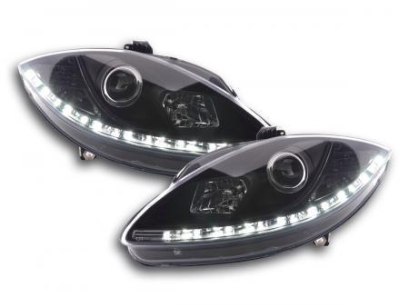Scheinwerfer Set Daylight LED Tagfahrlicht Seat Leon 1P Bj. 09- schwarz