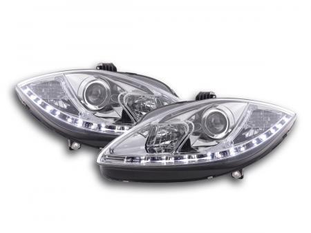 Scheinwerfer Set Daylight LED TFL-Optik Seat Leon 1P Bj. 09- chrom für Rechtslenker