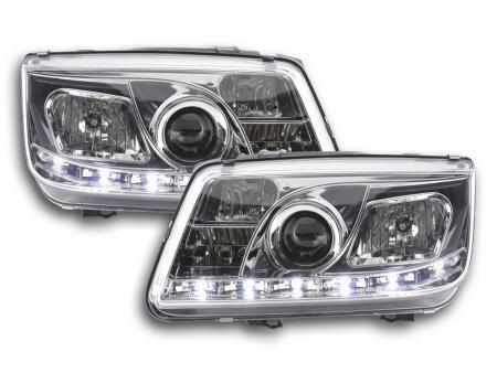Scheinwerfer Set Daylight LED TFL-Optik VW Bora Typ 1J Bj. 99-04 chrom