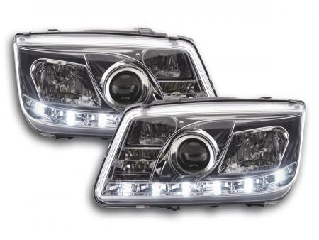 Scheinwerfer Set Daylight LED Tagfahrlicht VW Bora Bj. 98-05 chrom