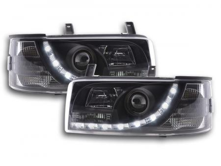 Scheinwerfer Set Daylight LED Tagfahrlicht VW Bus T4 Bj. 90-96 schwarz