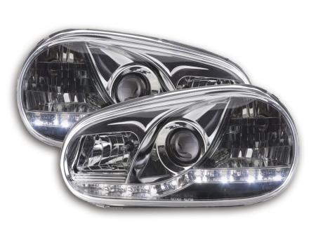 Scheinwerfer Set Daylight LED TFL-Optik VW Golf 4 Typ 1J Bj. 98-03 chrom