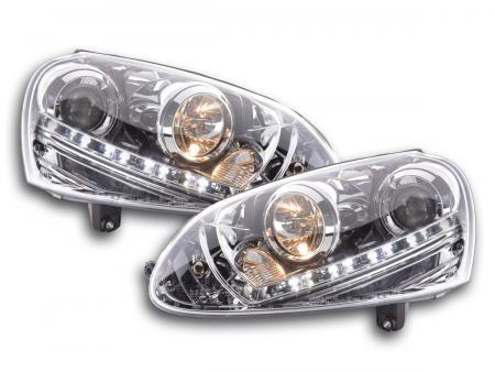 Scheinwerfer Set Daylight LED TFL-Optik VW Golf 5 Typ 1K Bj. 03-08 chrom