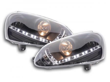Scheinwerfer Set Daylight LED TFL-Optik VW Golf 5 Typ 1K Bj. 03-08 schwarz