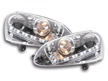 Scheinwerfer Set Daylight LED Tagfahrlicht VW Golf 5 Typ 1K Bj. 03-08 chrom