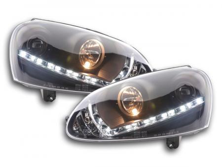 Scheinwerfer Set Daylight LED Tagfahrlicht VW Golf 5 Typ 1K Bj. 03-08 schwarz