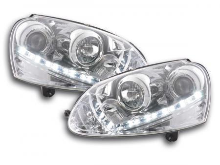 Scheinwerfer Set Daylight LED Tagfahrlicht VW Golf 5 Bj. 03-08 chrom