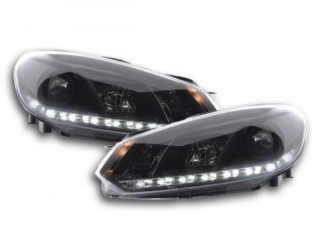Scheinwerfer Set Daylight LED Tagfahrlicht VW Golf 6 Typ 1K Bj. 08- schwarz